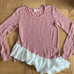 Anthropologie Clu + Willoughby, pink/white knit XS